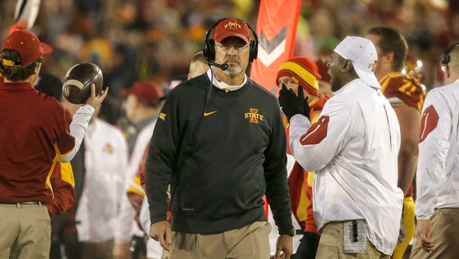 Iowa State head football coach Paul Rhoads watches the replay against Texas on Saturday, Oct. 31, 2015, at Jack Trice Stadium in Ames.