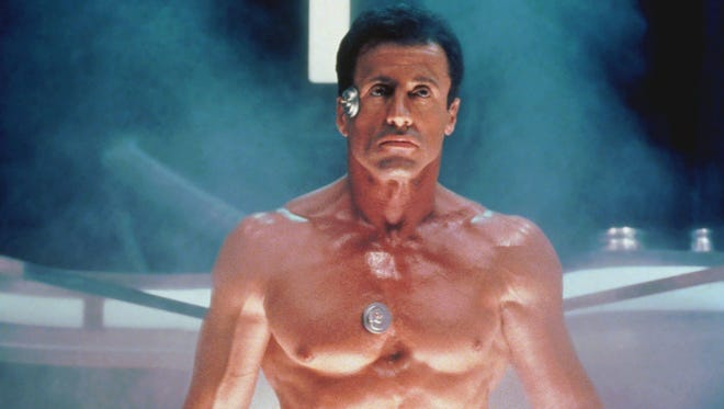 Sylvester Stallone as an LAPD cop brought to future to fight an arch-enemy in 'Demolition Man.'