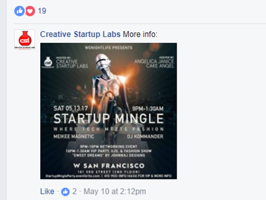 Creative Startup Labs posted the flier for June's event