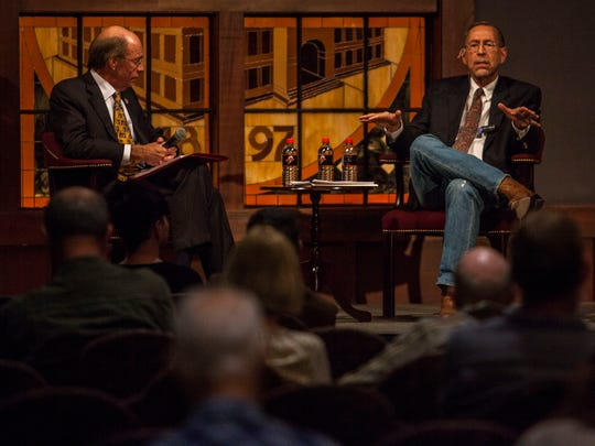 "Doug Bennett (left), Chair of the Department of Political Science and Criminal Justice at Southern Utah University, moderates a conversation with Michael Stathis (right), a professor of political science at Southern Utah, following his presentation ""ISIS/Da'ish and the Inevitability of a Fourth Gulf War"" lecture at the Great Hall, Thursday, Mar. 3, 2016."