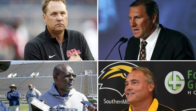 Clockwise, top left: Ole Miss coach Hugh Freeze, Mississippi State coach Dan Mullen, Southern Mississippi coach Jay Hopson and Jackson State coach Tony Hughes.