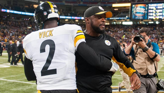 QB Michael Vick and coach Mike Tomlin look to keep the Steelers winning while Ben Roethlisberger recovers.