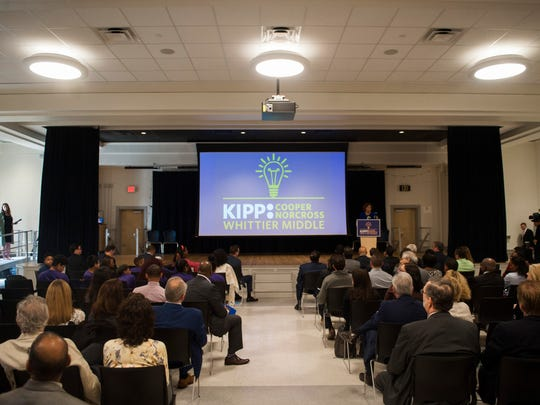 Susan Bass Levin, President and CEO, Cooper Foundation speaks during a dedication ceremony of the KIPP Cooper Norcross Academy John Greenleaf Whittier Middle School in Camden on Monday, May 7, 2018.