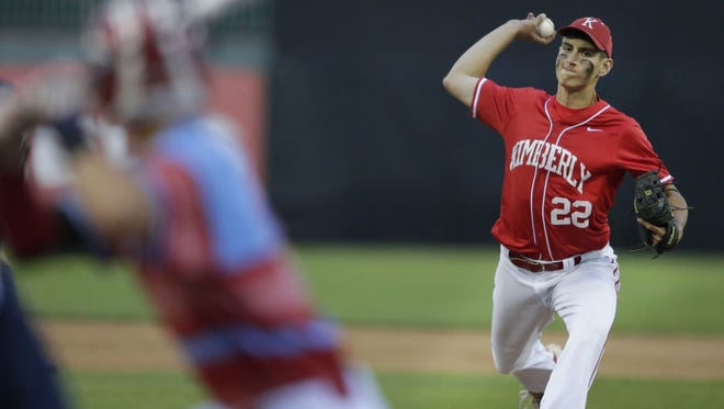 Kimberly High School's #22 Danny VandenBoom delivers against Arrowhead High School during their WIAA Division 1 semifinal state baseball game Tuesday, June 14, 2016, at Neuroscience Group Field at Fox Cities Stadium in Grand Chute, Wis.  Wm. Glasheen/USA TODAY NETWORK-Wisconsin