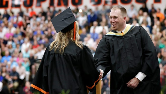Kaukauna High School principal Corey Baumgartner, photographed at the school's 2018 graduation ceremony, will be departing the district after this school year to lead the Brillion School District.