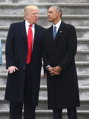 President Donald Trump and former president Barack Obama, Washington, Jan. 20, 2017.