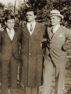 """Barton Cross, left, with his half brothers Bill Mott and Benny Mott. """"The Jersey Brothers,"""" a new book by Bill Mott's daughter, Sally Mott Freeman, details Cross' capture by the Japanese during World War II and the Mott brothers' efforts to rescue him."""