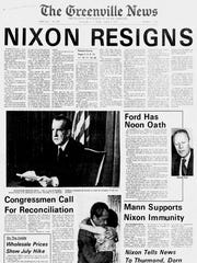 The front page of The Greenville News on Aug. 9, 1974.