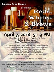 "Stayton Area Rotary is hosting ""Reds, Whites and Brews,"""