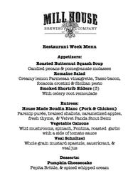 Mill House Brewing Company: Menu for Restaurant Week