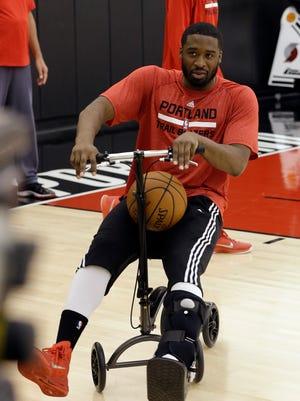Portland Trail Blazers guard Wesley Matthews wheels around the court back in April.
