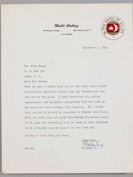 Malcolm X Letter