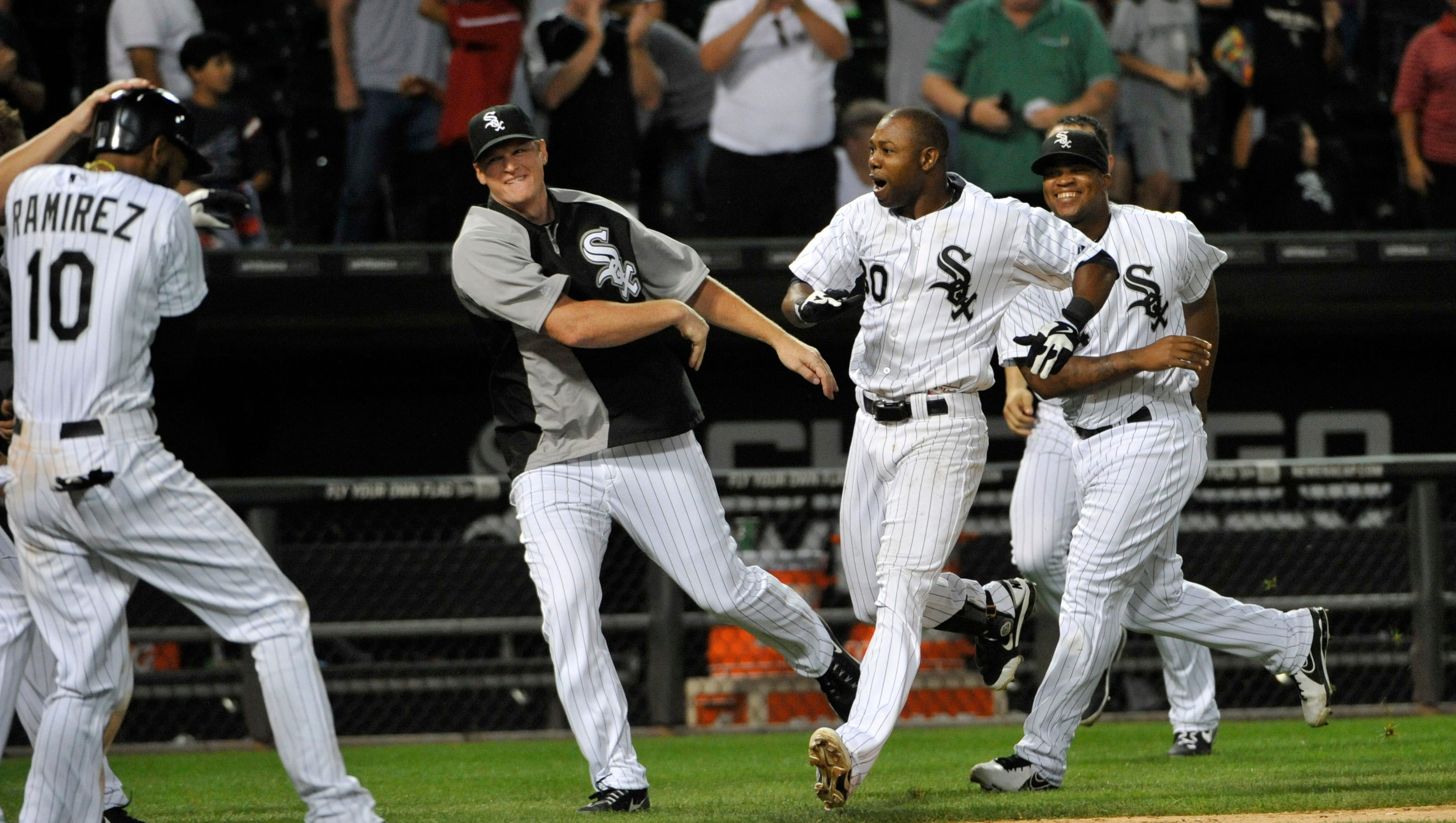Aug. 7: Chicago White Sox center fielder Alejandro De Aza (30) hits a walk-off double to beat the New York Yankees at U.S. Cellular Field.