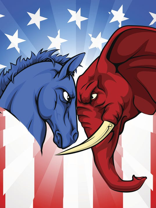 Donkey Elephant American Election Concept