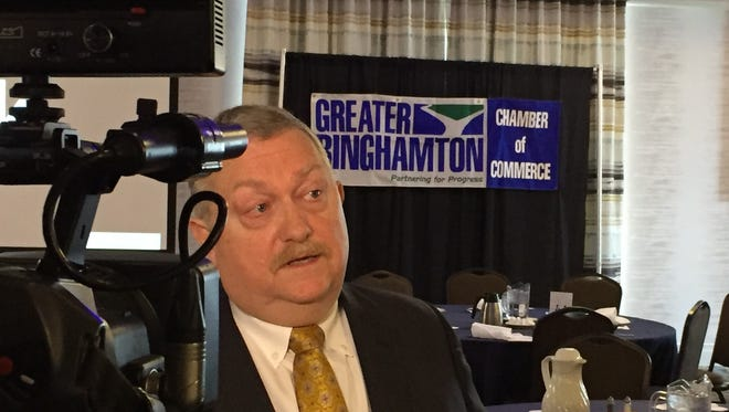 M&T Bank Chief Economist Gary Keith is interviewed after his talk Tuesday to the Greater Binghamton Chamber of Commerce at the Holiday Inn
