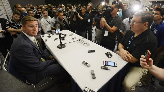 Michigan State quarterback Connor Cook speaks to the media during Big Ten Football Media Days Thursday in Chicago.
