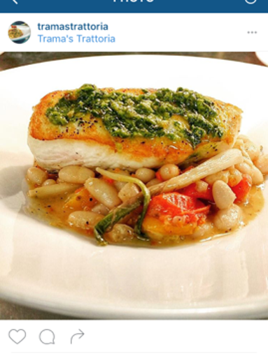 Halibut with white beans from Trama's Trattoria in