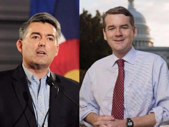 Sen. Cory Gardner, R-Colo., left, and Sen. Michael Bennet, D-Colo., right