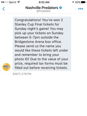 Predators fan Andrew Fudge missed an opportunity to win tickets to the Stanley Cup Final.