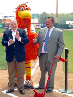 Governor Larry Hogan and Shorebirds' general manager Chris Bitters cut the ribbon on improvements to Arthur W. Perdue Stadium on April 21, 2016.