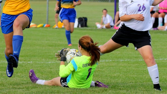 New Berlin Eisenhower goalie Ava Seifert and Alyssa Stuckart (right) have been key player for a team that has posted eight shutouts this season.