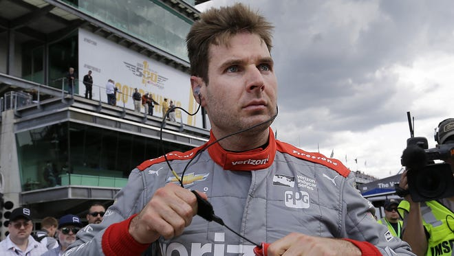 IndyCar driver Will Power (12) following his qualifying run for the 100th running of the Indianapolis 500 Saturday, May 21, 2016, morning at the Indianapolis Motor Speedway.
