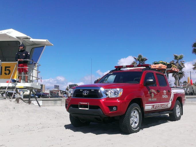 One of the lifeguard trucks that Toyota has donated to San Diego