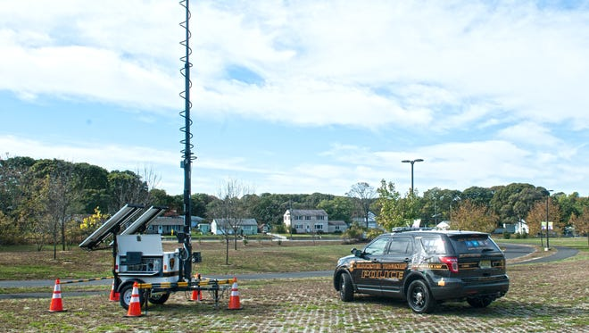 A Gloucester Township Police mobil camera unit is shown at the Timber Creek Park. The unit is helping police keep an eye on parks and other locations.