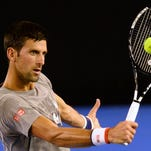 Novak Djokovic takes part in a practice session ahead of the Australian Open in Melbourne on Jan. 14.