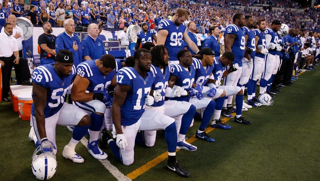 Colts players took a knee during the national anthem last week.
