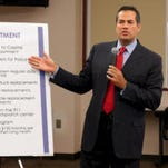 El Paso City Manager Tommy Gonzalez during a recent city press conference.