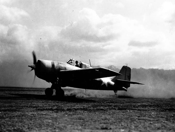 An F4F Wildcat takes off from Guadalcanal for a mission