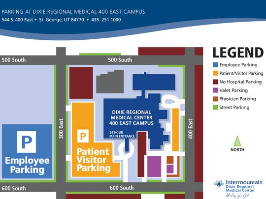 A map shows parking arrangements at Dixie Regional Medical Center's 400 East campus following the first of the year.