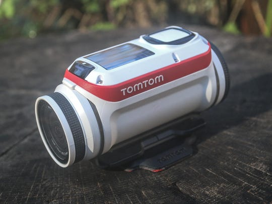 The TomTom Bandit action camera shoots 4K video and boasts up to three continuous hours of recording.