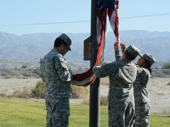 Students at Riverside County Education Academy, a military-themed high school in Indio, raise the flag every morning.