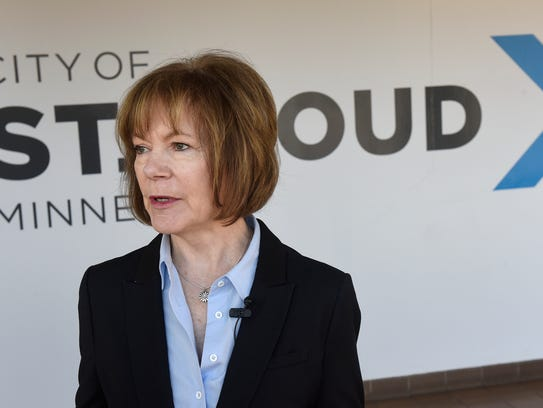 Sen. Tina Smith speaks following a meeting discussing