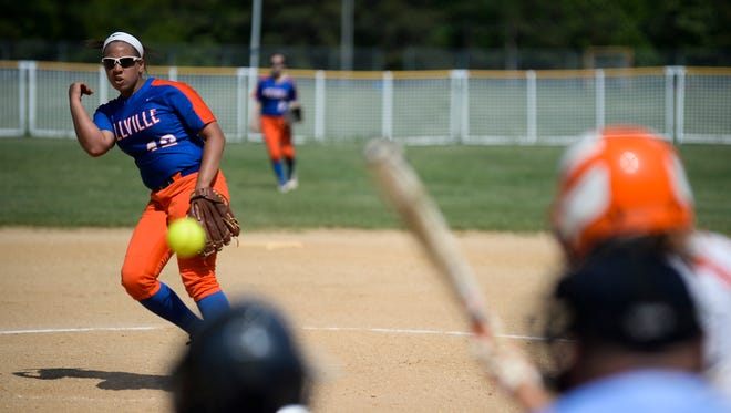 Millville's Mahogany Wheeler  pitches against Cherokee in Friday's South Jersey Group 4 semifinal. The Thunderbolts won, 6-5, thanks in part to Wheeler's arm and her two-run home run.