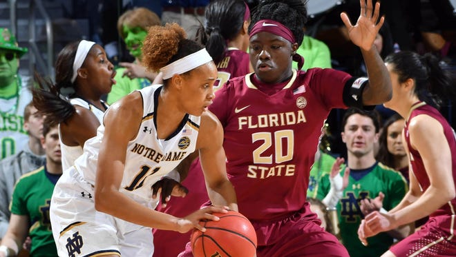 Feb 26, 2017; South Bend, IN, USA; Notre Dame Fighting Irish forward Brianna Turner (11) dribbles as Florida State Seminoles forward Shakayla Thomas (20) defends in the first half at the Purcell Pavilion. Mandatory Credit: Matt Cashore-USA TODAY Sports