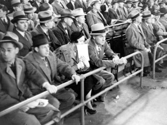 Fans at Crosley Field watching the first night game in Major League Baseball history on May 24, 1935.