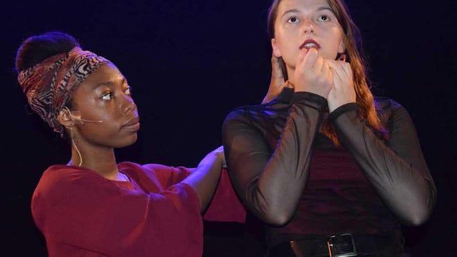 Morgan Tripp and Callan Whitley rehearse one of the Saax Bradbury Players' original productions.