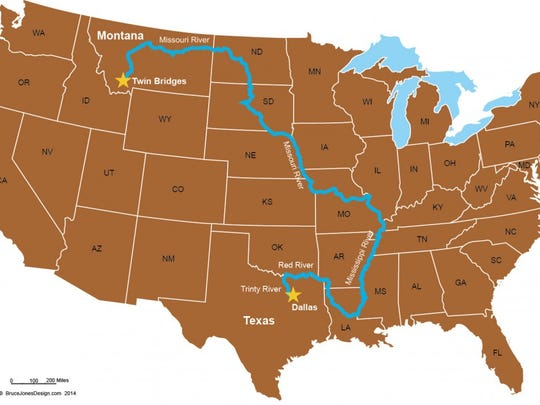 Keith Lynch is canoeing through 15 states and roughly 4,000 miles.