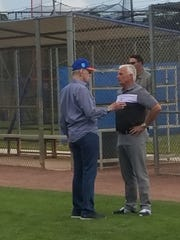 Mets owner Fred Wilpon, left, and Terry Collins, special assistant to the GM, at spring training on Feb. 20, 2018.