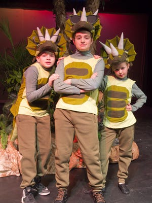 """In rehearsals for the Community Theatre of Howell's upcoming performance of """"Magic Treehouse: Dinosaurs Before Dark"""" are cast members, from left, Aidan Ralko as Larry, Hunter Allen as Gary and Karalynn Johnson as Teri."""