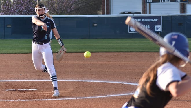 Siegel's Sophie Golliver fires a pitch during the 2018 season. Golliver was the DNJ's all-area player of the year.