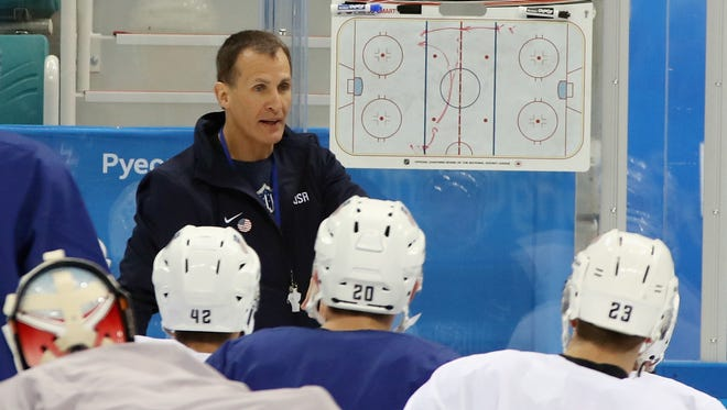 Head coach Tony Granato of the Men's USA Ice Hockey Team works practice ahead of the PyeongChang 2018 Winter Olympic Games at the Gangneung Hockey Centre on February 9, 2018 in Pyeongchang-gun, South Korea.
