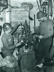 A photo of soldiers taken during Christmas toward the end of World War II.