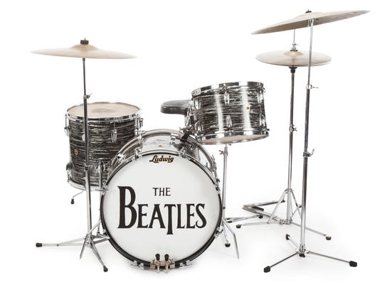 This photo provided on Friday, Dec. 4, 2015, shows a drum kit that Ringo Starr used to record some of the Beatles' early hits, sold for $2.2 million at an auction to Indianapolis Colts owner Jim Irsay. (AP Photo/Caroline Galloway)