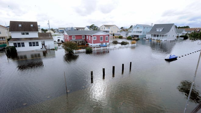 Flooded streets in South Bethany Beach following Superstorm Sandy in 2012.