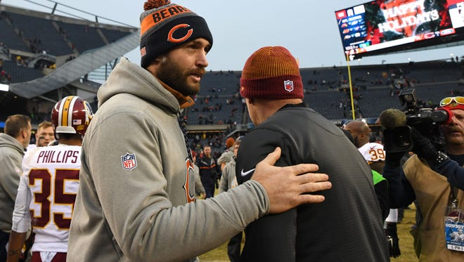 Dec 24, 2016; Chicago, IL, USA; Chicago Bears quarterback Jay Cutler looks on after the game against the Washington Redskins at Soldier Field. Redskins won 41-21. Mandatory Credit: Patrick Gorski-USA TODAY Sports