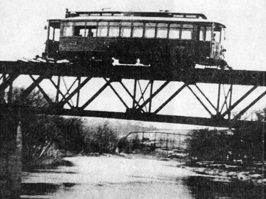 This is a trolley crossing a bridge over the Conewago Creek. The trolley ran from York to York Haven.